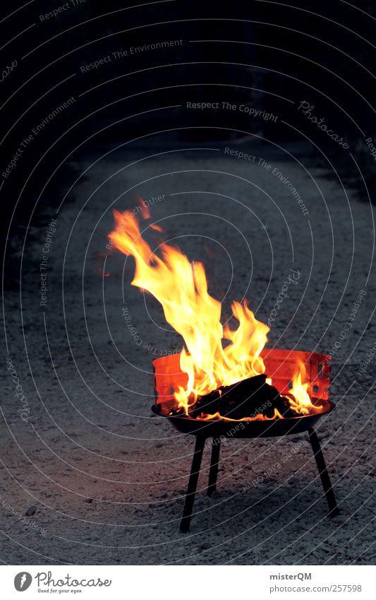 Grillsaison eröffnet! Freizeit & Hobby ästhetisch Grillen Grillkohle Grillplatz Brand Feuer anzünden heiß Wärme Sommer Sommerabend gelb Farbfoto Gedeckte Farben