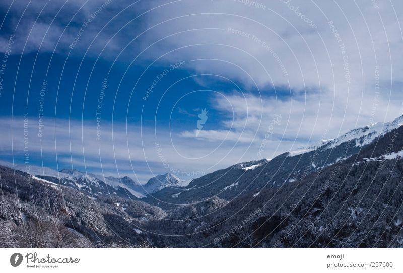 blaugrau Umwelt Natur Landschaft Himmel Winter Schönes Wetter Schnee Alpen Berge u. Gebirge Gipfel Schneebedeckte Gipfel kalt Farbfoto Außenaufnahme