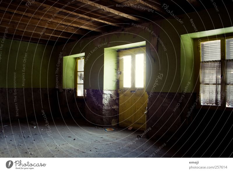 grün Haus Mauer Wand Fassade Fenster Tür alt verfallen abblättern leer Innenarchitektur Bodenbelag Freiraum Farbfoto Innenaufnahme Menschenleer Tag Licht