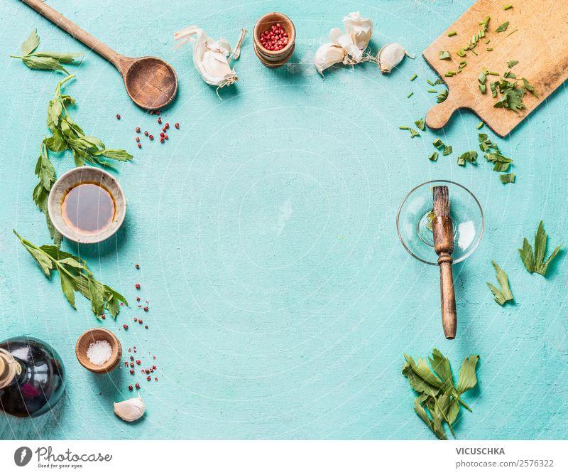 Essen und Kochen Hintergrung Rahmen Lebensmittel Kräuter & Gewürze Öl Ernährung Geschirr kaufen Stil Design Gesunde Ernährung Tisch Küche Restaurant Kochlöffel