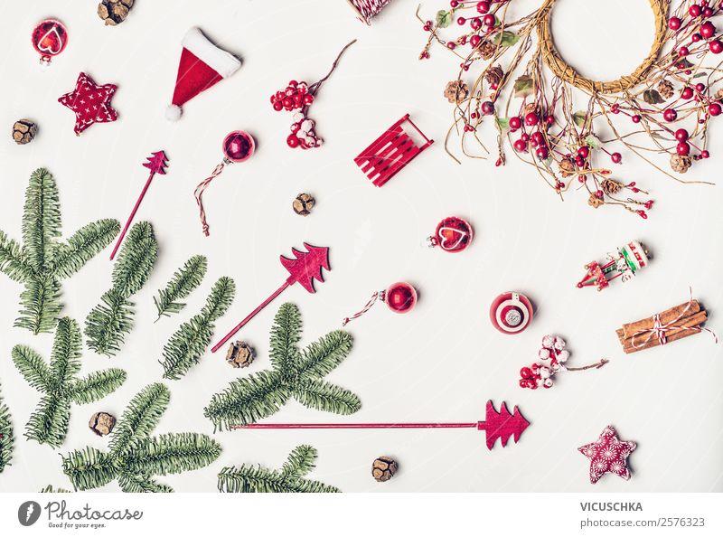 Weihnachten Dekoration mit Tannenzweige on white Ferien & Urlaub & Reisen Weihnachten & Advent Winter Lifestyle Hintergrundbild Stil Feste & Feiern Design