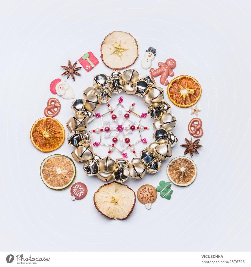 Weihnachten Komposition mit Trockenfrüchte und Dekoration Lebensmittel Festessen Stil Design Winter Dekoration & Verzierung Feste & Feiern Weihnachten & Advent