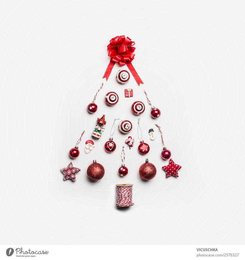 Weihnachtsbaum mit roten Weihnachtsdekoration Weihnachten & Advent Freude Stil Stimmung Design Dekoration & Verzierung modern kaufen Symbole & Metaphern
