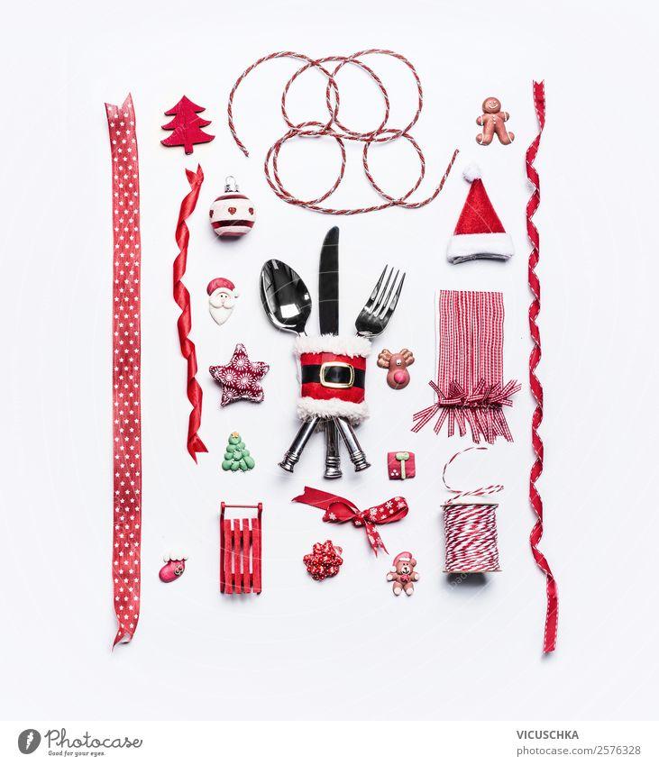 Rote Weihnachten Dekoration Sammlung auf weiß Weihnachten & Advent rot Stil Feste & Feiern Stimmung Design Dekoration & Verzierung Geschenk kaufen Tradition