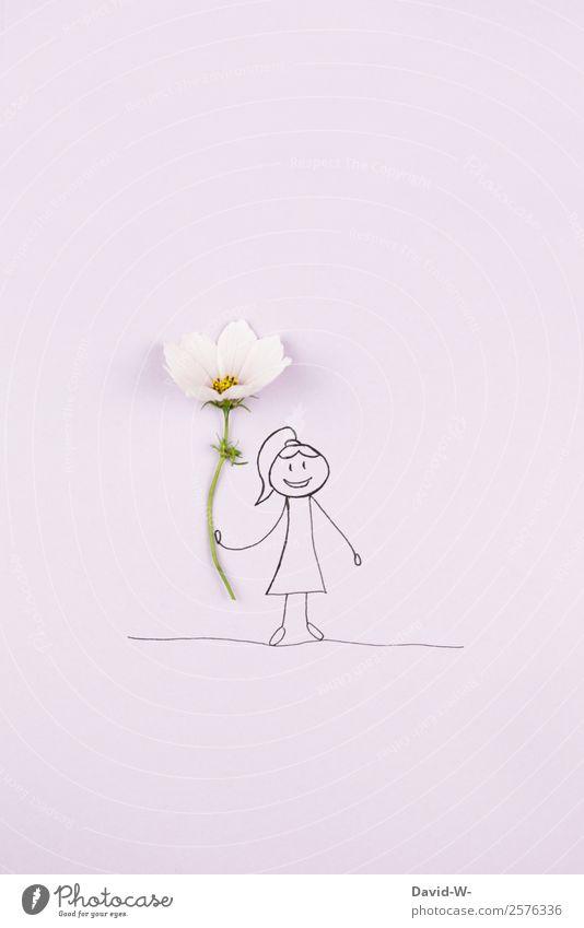 Blumengruß Lifestyle Glück Mensch feminin Mädchen Frau Erwachsene Kindheit Jugendliche Leben 1 Kunst Natur Pflanze Blüte beobachten träumen Blumenstrauß