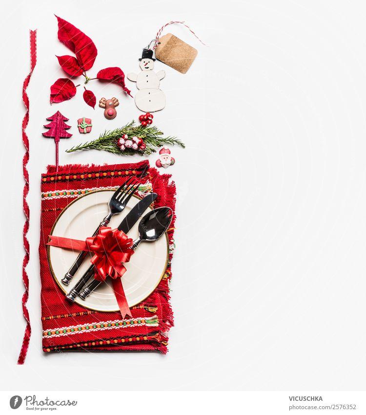 Weihnachten Tischgedeck und Tischdekoration auf weiß Ferien & Urlaub & Reisen Weihnachten & Advent Winter Hintergrundbild Stil Feste & Feiern Party