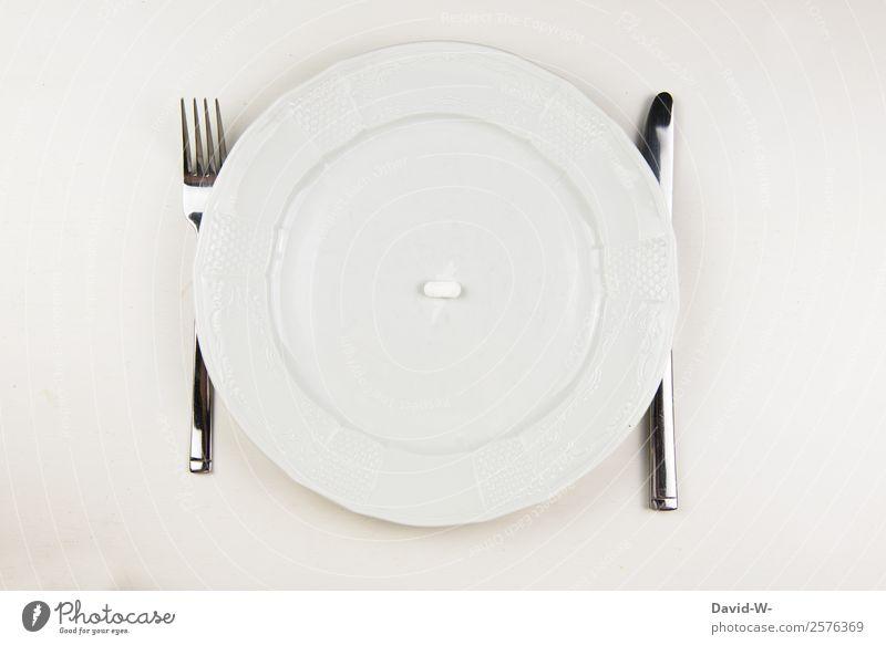 Medikament Lebensmittel Ernährung Essen Teller Messer Gabel Gesundheit Gesundheitswesen Behandlung Seniorenpflege Gesunde Ernährung Krankheit Übergewicht