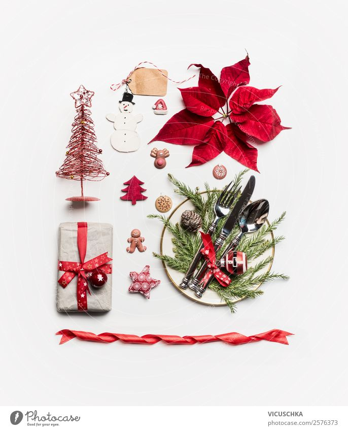 Weihnachten Dekoration Sammlung auf weiß Weihnachten & Advent rot Stil Feste & Feiern Design Dekoration & Verzierung kaufen Tradition Weihnachtsbaum Teller