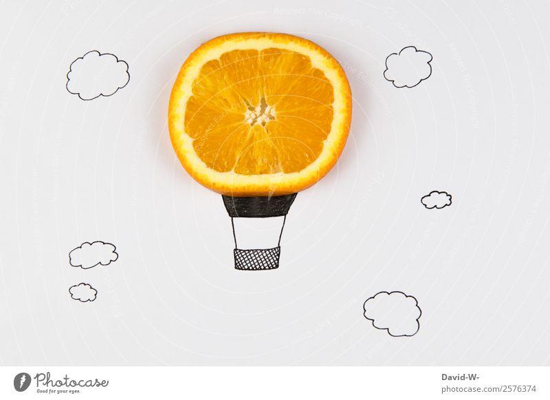 Orangenballon Mensch Natur Ferien & Urlaub & Reisen Jugendliche Ferne Lifestyle Leben lustig Glück Kunst Spielen Tourismus Freiheit fliegen Ausflug