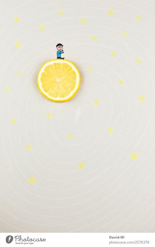 Träume Mensch maskulin Kind Mann Erwachsene Kindheit Leben 1 Kunst Klimawandel Mond Mondschein Märchen außergewöhnlich Zitrone niedlich Gute Nacht