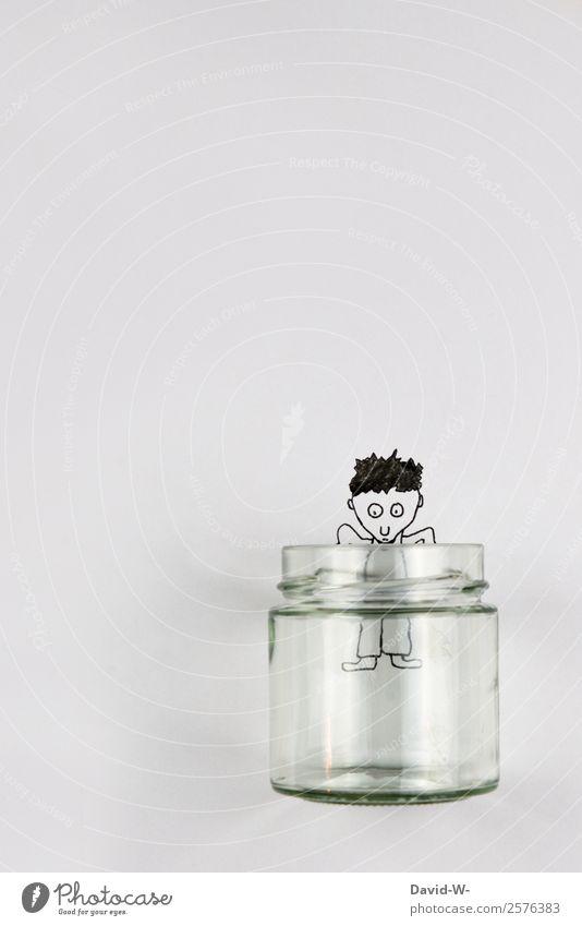 neugierig? Lifestyle elegant Stil Leben Zufriedenheit Spielen Mensch maskulin Junger Mann Jugendliche Erwachsene Kindheit 1 Kunst Kraft Glas Neugier Interesse