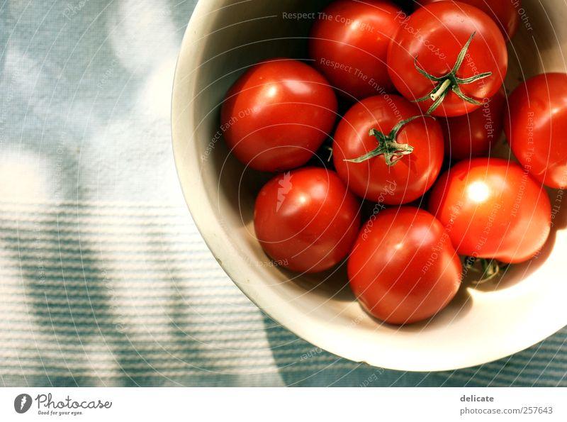 Tomaten Natur blau grün Sonne rot Lebensmittel Ernährung Tisch Gemüse Bioprodukte Geschirr Schalen & Schüsseln Vegetarische Ernährung Abendessen Tomate Mittagessen