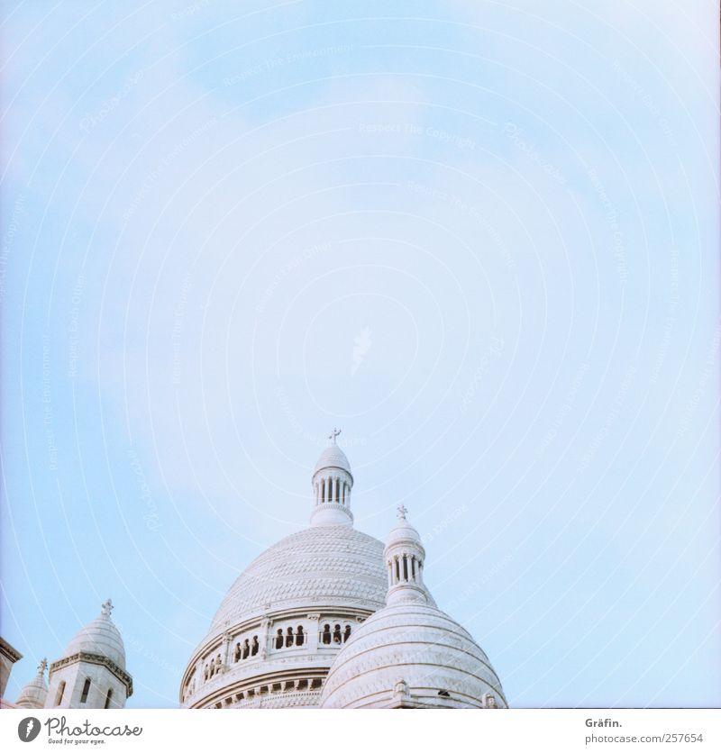 Sacre Coer Himmel blau weiß Ferien & Urlaub & Reisen Gebäude Religion & Glaube hell Ausflug Tourismus Kirche Sehenswürdigkeit Sightseeing gigantisch altmodisch