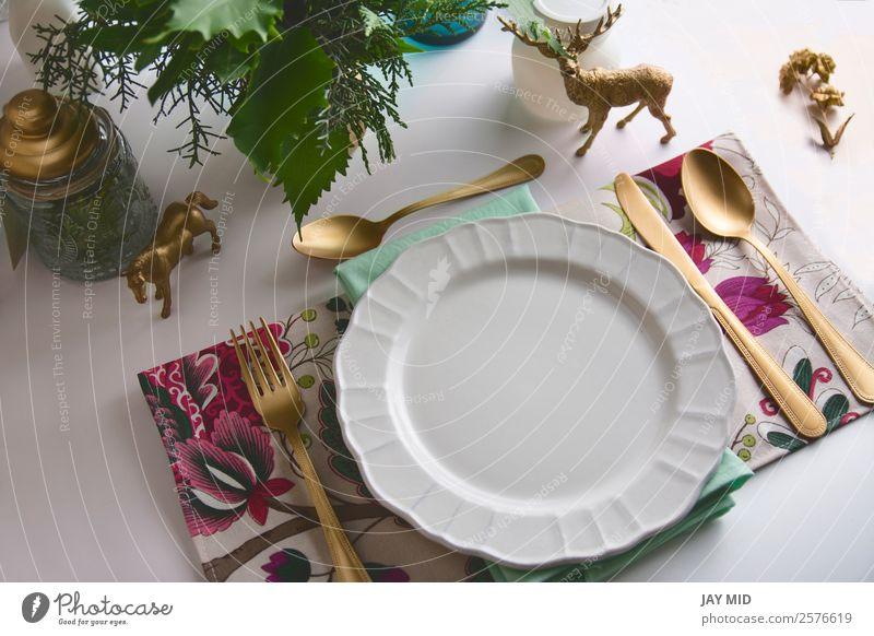 Weihnachts-Tischdecke, Aquamarin und goldene Farbe Abendessen Teller Besteck Gabel Löffel elegant Dekoration & Verzierung Feste & Feiern Erntedankfest
