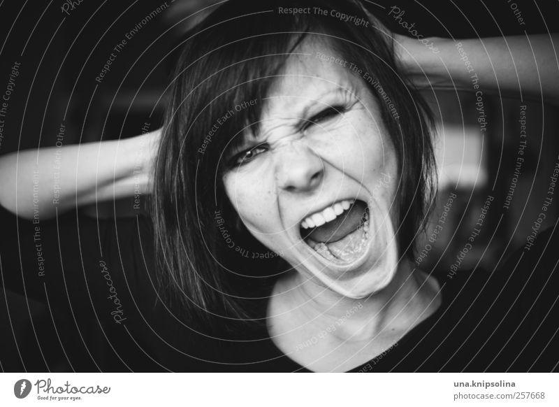 gut gebrüllt, löwe Frau Mensch Jugendliche Erwachsene Gesicht feminin sprechen Gefühle wild bedrohlich Kommunizieren 18-30 Jahre Wut stark schreien