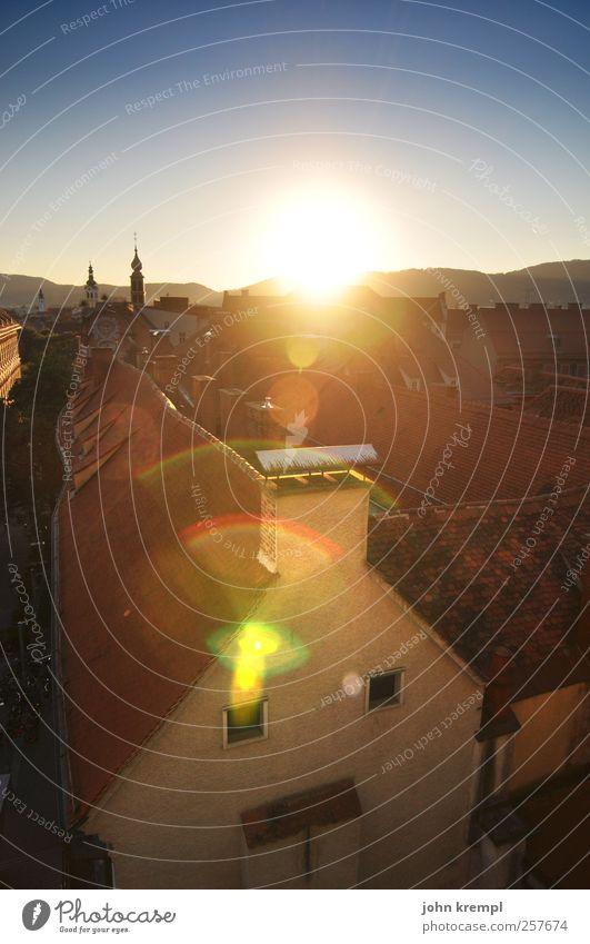 Graz, mein Graz! Stadt rot Sonne Ferien & Urlaub & Reisen Farbe gelb Architektur Wärme Gebäude Religion & Glaube ästhetisch Tourismus Kirche