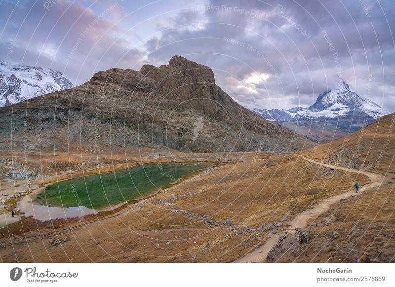 Erstaunlicher Blick auf den majestätischen Matterhorngipfel in der Schweiz Ferien & Urlaub & Reisen Tourismus Ausflug Abenteuer Winter Schnee Berge u. Gebirge