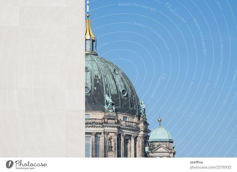 Berliner Dom, vom Stadtschloss halb verdeckt Kirche Fassade Sehenswürdigkeit Wahrzeichen Religion & Glaube Oberpfarrkirche zu Berlin Berlin-Mitte Blauer Himmel