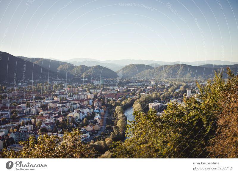 homebase Umwelt Wolkenloser Himmel Herbst Schönes Wetter Berge u. Gebirge Fluss Mur Graz Österreich Bundesland Steiermark Stadt Stadtzentrum authentisch groß
