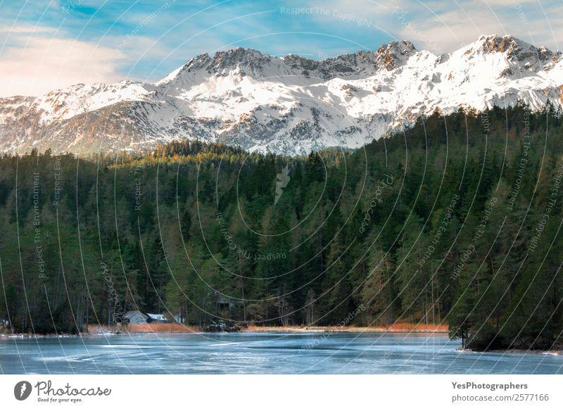 Natur blau grün weiß Landschaft Winter Berge u. Gebirge Schnee Tourismus See Felsen Eis Wetter Europa Schönes Wetter Gipfel