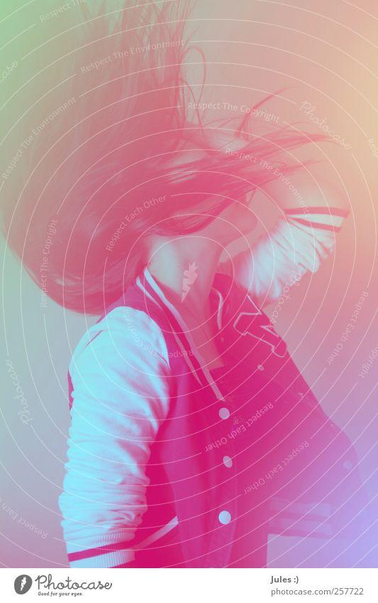 let the fire fall. feminin Jugendliche 1 Mensch Mode Jacke brünett Tanzen außergewöhnlich hell Leben Kraft mehrfarbig Studioaufnahme Licht Wegsehen Junge Frau