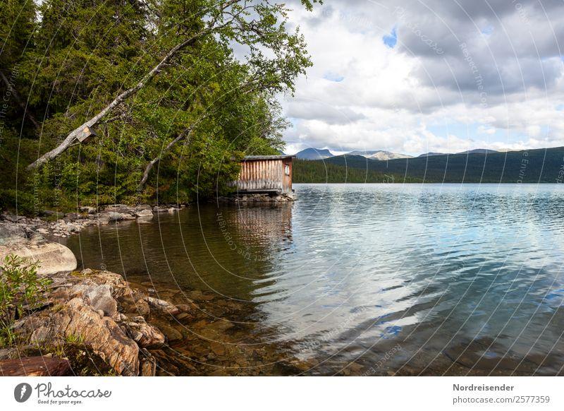 Kleine Hütte am See Ferien & Urlaub & Reisen Tourismus Abenteuer Ferne Freiheit Camping Sommer Natur Landschaft Wasser Wolken Baum Wald Seeufer Häusliches Leben