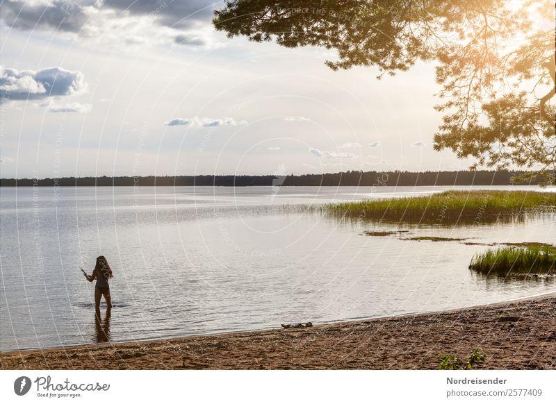 Schwedischer Sommerabend Frau Mensch Himmel Ferien & Urlaub & Reisen Natur Wasser Landschaft Sonne Wolken ruhig Strand Erwachsene feminin Tourismus Freiheit