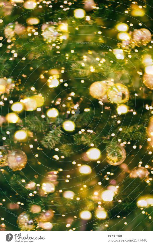 christmas tree bokeh Design Feste & Feiern Weihnachten & Advent Silvester u. Neujahr Kunst Baum Weihnachtsbaum Dekoration & Verzierung Kerze glänzend gold grün