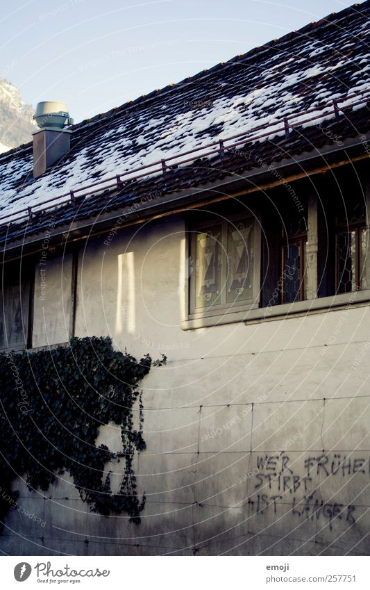 Wer früher stribt ist länger Haus Gebäude Mauer Wand Fassade Fenster Dach bedrohlich dunkel grau Graffiti Redewendung Farbfoto Gedeckte Farben Außenaufnahme