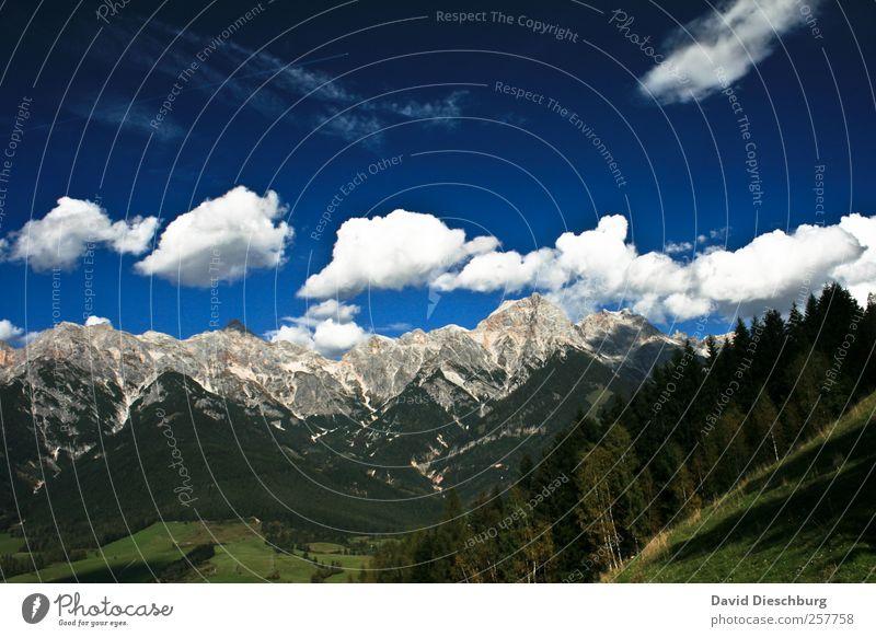 Steinernes Meer Himmel Natur blau Ferien & Urlaub & Reisen weiß grün Baum Pflanze Sommer Wolken ruhig Wald Erholung Ferne Landschaft Berge u. Gebirge