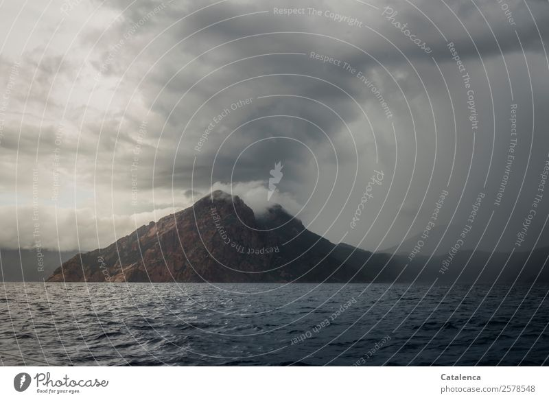 Wetterumschwung Landschaft Urelemente Wasser Wolken Gewitterwolken Sommer schlechtes Wetter Nebel Regen Felsen Berge u. Gebirge Küste Meer Mittelmeer
