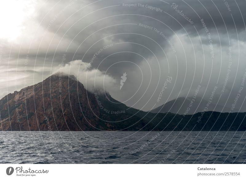 Scheinvulkan Natur Sommer blau Wasser Meer Berge u. Gebirge schwarz Umwelt Küste braun grau Felsen Stimmung Ausflug Regen Wellen