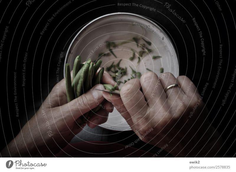 Trennkost Häusliches Leben Frau Erwachsene Hand Finger 1 Mensch Schalen & Schüsseln Messer Bohnen Grüne Bohnen schneiden abschneiden Ehepaar Ehering Metall
