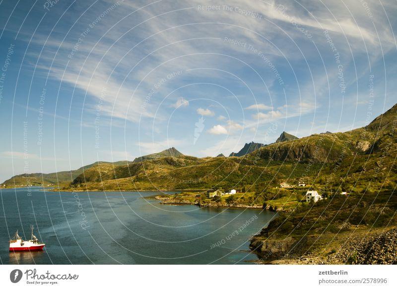 Skandinavische Küste Bucht Polarmeer Europa Felsen Ferien & Urlaub & Reisen Fischereiwirtschaft Fjord Hafen Himmel Himmel (Jenseits) Horizont Insel Landschaft