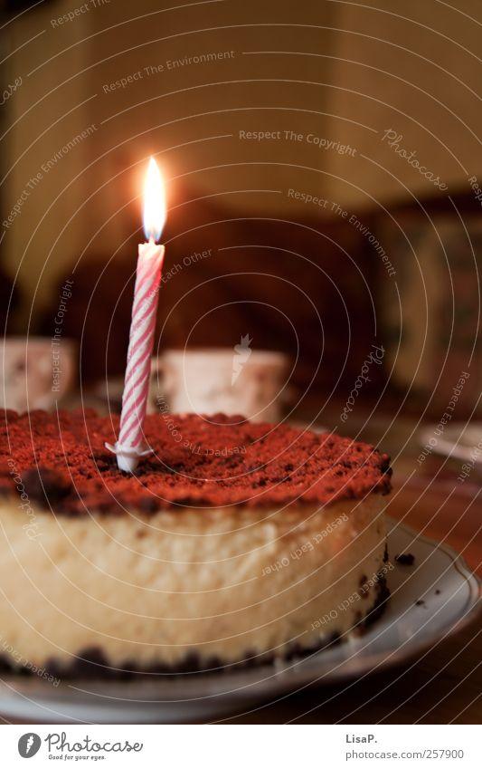 ...und weil du heut geburtstag hast Teigwaren Backwaren Kuchen Kaffeetrinken Teller Dekoration & Verzierung Kerze lecker schön braun rosa Glück Geburtstag