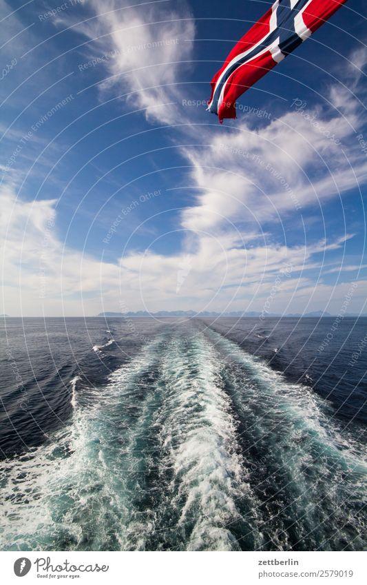 Abschied von Lofoten Polarmeer Felsen Ferien & Urlaub & Reisen Fischereiwirtschaft Fjord Himmel Himmel (Jenseits) Horizont Insel Landschaft maritim Meer Natur