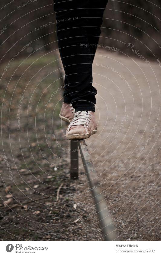 Primaballerina Junge Frau Jugendliche Beine Fuß Natur Erde Herbst Hose Jeanshose Schuhe Turnschuh Stein Sand gehen außergewöhnlich elegant schön braun rosa
