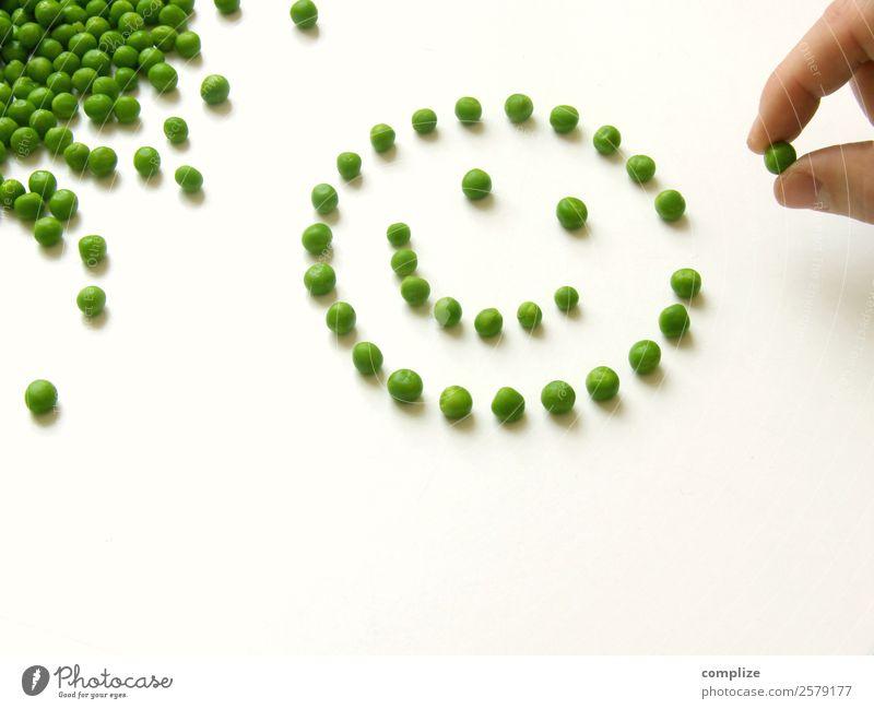 Smily Gesunde Ernährung - Gemüse Erbsen Lebensmittel Mittagessen Bioprodukte Vegetarische Ernährung Diät Gesicht Spielen Koch Hand viele Optimismus Smiley Dinge