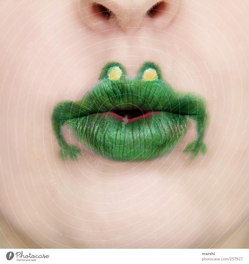 quak Mensch grün Tier Gesicht lustig Haut Mund Lippen Tiergesicht skurril Schminke Frosch tierisch graphisch Zeichnung Kosmetik