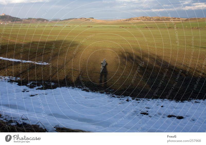 Hinterm Horizont gehts weiter Ferne Winter Schnee 1 Mensch Landschaft Himmel Sonnenlicht Schönes Wetter Feld Hügel Blick blau braun grün weiß Fernweh