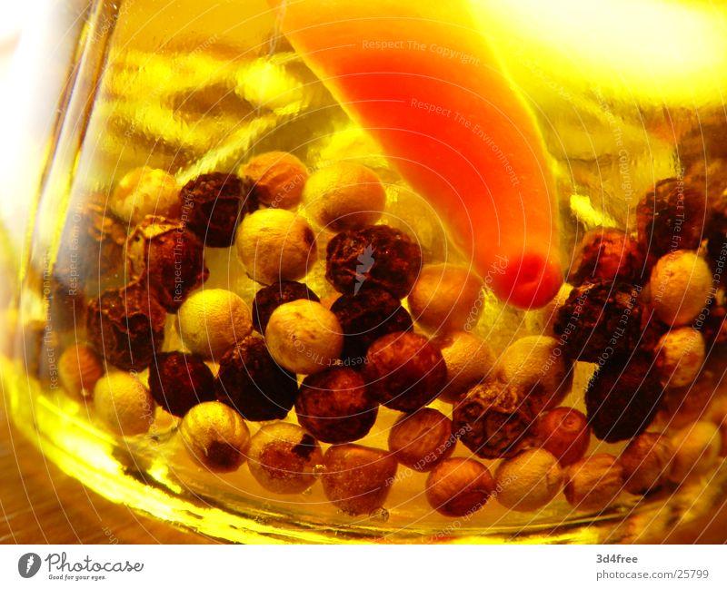 eingelegt! 1 Gesundheit Kräuter & Gewürze Flasche Erdöl trüb Pfeffer Peperoni Pfefferkörner