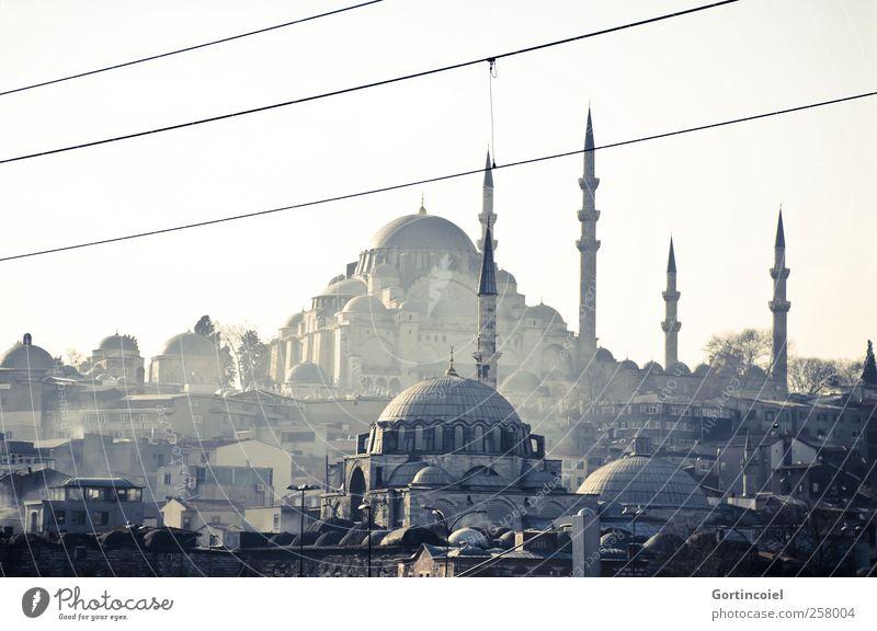 Süleymaniye Camii Stadt Stadtzentrum Skyline Bauwerk Gebäude Sehenswürdigkeit alt Moschee Rauch Minarett Kuppeldach Istanbul Türkei Gotteshäuser Islam