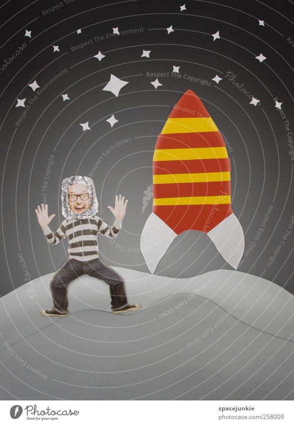 Die Reise zum Mond Mensch Himmel Jugendliche Mann rot Junger Mann gelb Erwachsene Reisefotografie lustig grau außergewöhnlich maskulin Technik & Technologie niedlich Zukunft