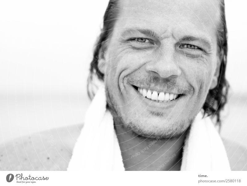 Christian Mensch Mann schön Erholung Strand Erwachsene Leben lachen Zufriedenheit maskulin frisch Lächeln Fröhlichkeit Lebensfreude nass Freundlichkeit