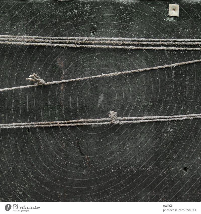 Alte Seilschaft alt schwarz grau Ordnung Sicherheit Technik & Technologie einfach dünn fest stark diagonal Zusammenhalt parallel Werkzeug Partnerschaft