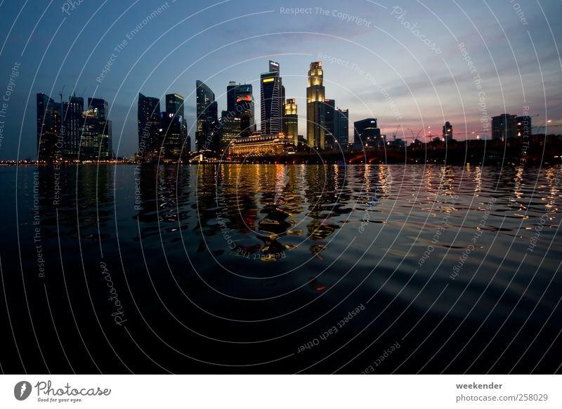 Singapore, Marina Bay bei Nacht Himmel Wasser Stadt Ferien & Urlaub & Reisen Haus Architektur Horizont Hochhaus Tourismus Bankgebäude Asien fantastisch Skyline