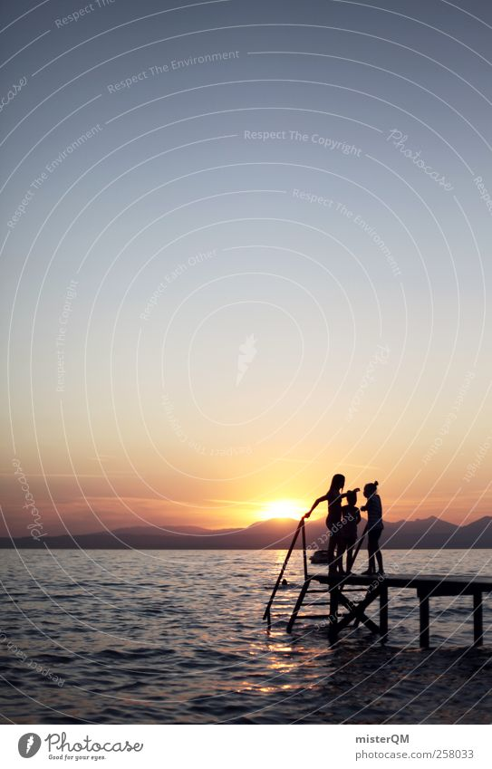 Seeromantik. ästhetisch abgelegen ruhig Schwimmen & Baden Romantik Sonnenuntergang Anlegestelle Ferien & Urlaub & Reisen Fernweh Urlaubsstimmung Urlaubsfoto