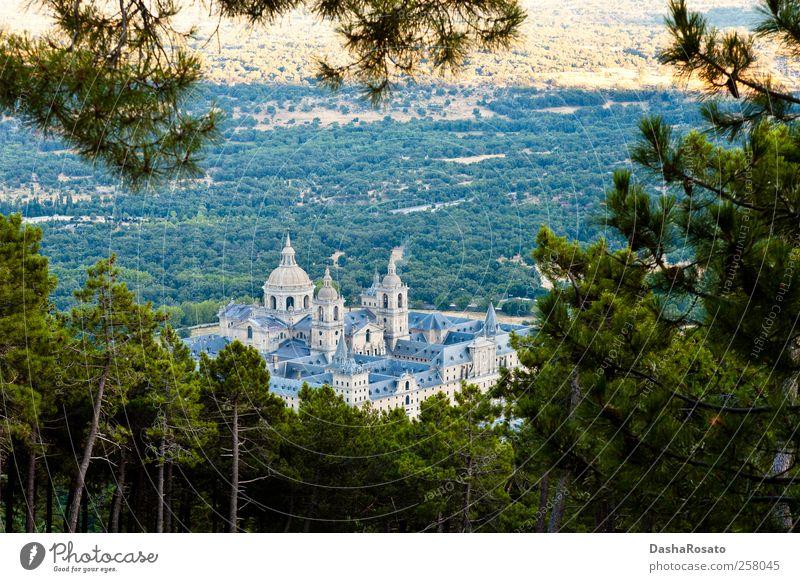 Kloster San Lorenzo de El Escorial von oben Ferien & Urlaub & Reisen Tourismus Sommer Pflanze Baum Monasterio de San Lorenzo Kirche Dom Burg oder Schloss Platz