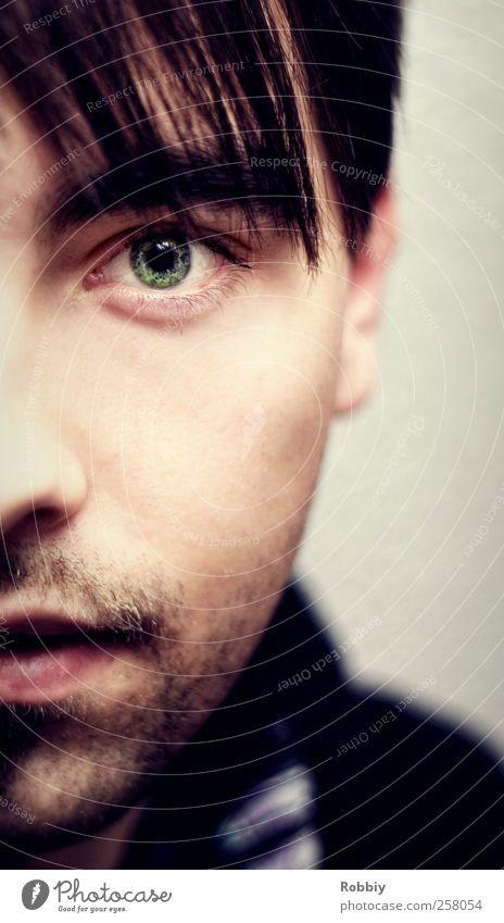 C'est moi Mensch Jugendliche grün ruhig Erwachsene Gesicht Auge Kopf natürlich maskulin Coolness 18-30 Jahre Gelassenheit Gesichtsausdruck Hälfte Symmetrie