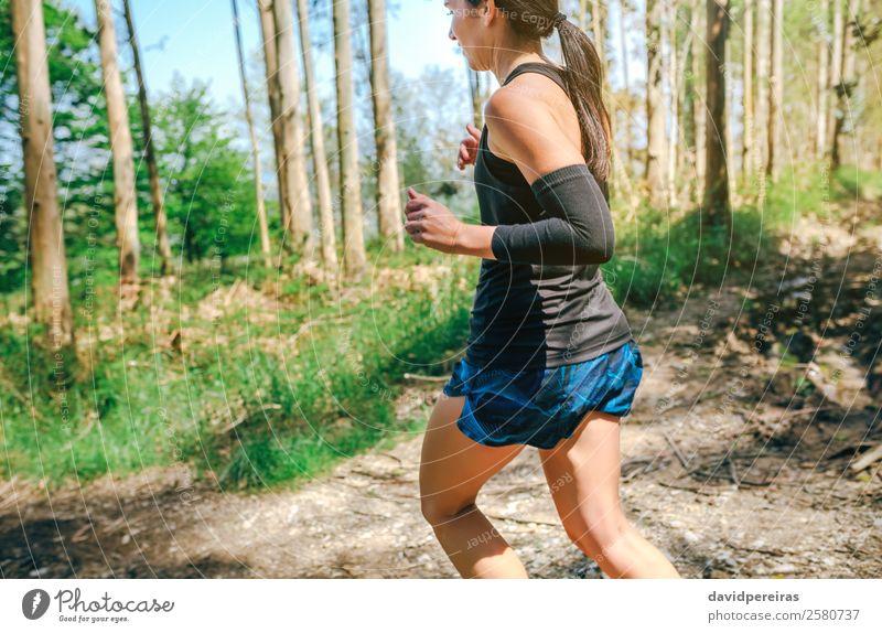 Junge Frau auf Spurensuche Lifestyle Abenteuer Sport Mensch Erwachsene Natur Baum Wald Wege & Pfade Turnschuh Fitness authentisch Geschwindigkeit anstrengen